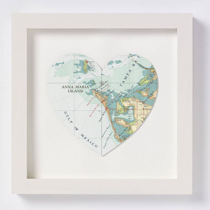 Anna Maria Island Map Heart Print