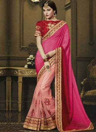 Magenta Pink Embroidery Work Silk Net Designer Wedding Fancy Half Sarees