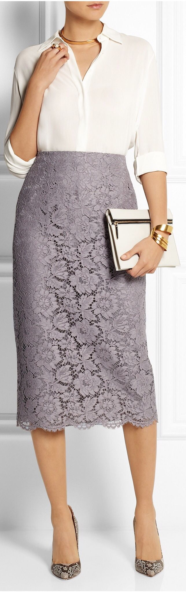 Not a fan of lace, but I love the shape of this skirt with a blouse - love the marilyn monroe style/look