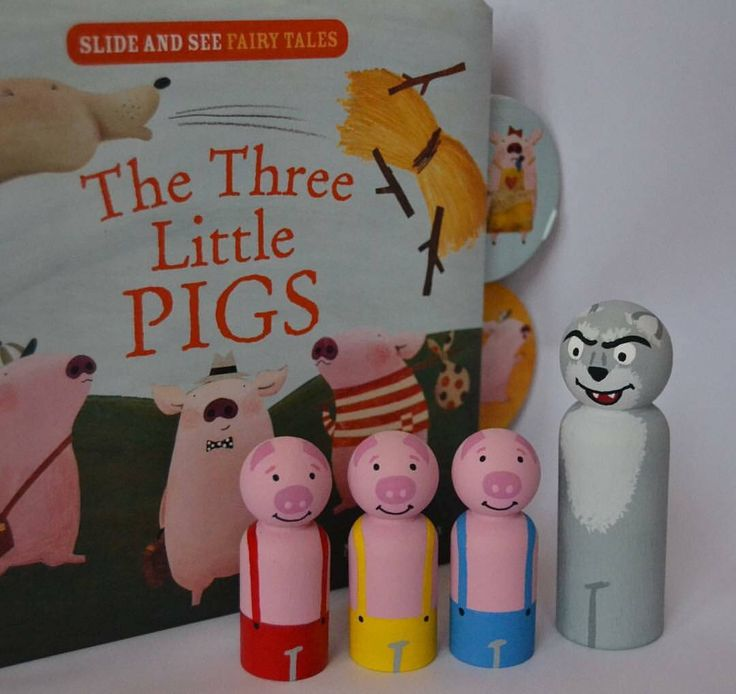 A personal favourite from my Etsy shop https://www.etsy.com/au/listing/526855521/three-little-pigs-peg-dolls