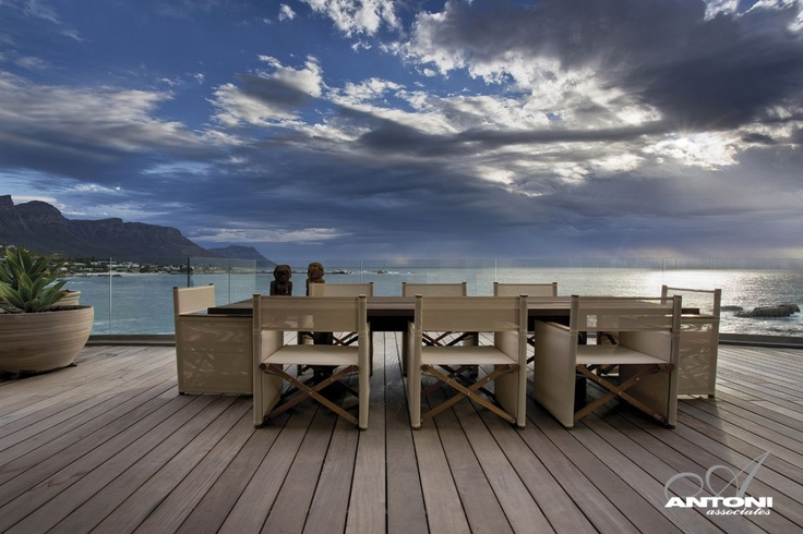 Large outdoor table and chairs, wooden deck, views