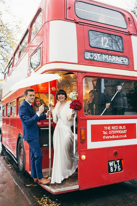The good ole red double decker bus for a winter wedding in Edinburgh. Loving the Jenny Packham dress and Biba stole too...
