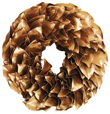 Gold Lacquer Wreath contemporary-wreaths-and-garlands