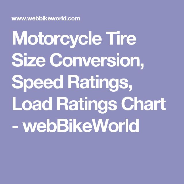 Motorcycle Tire Size Conversion, Speed Ratings, Load Ratings Chart - webBikeWorld