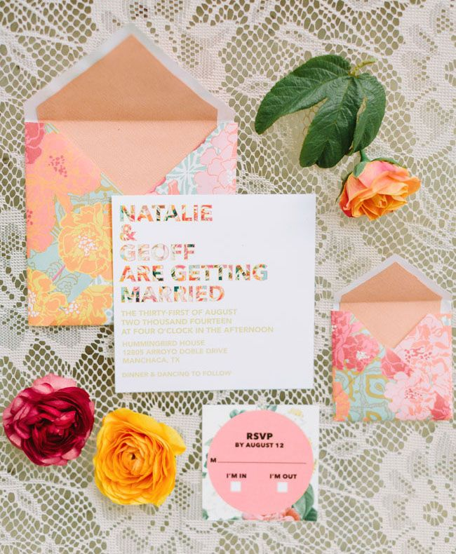 Colorful floral and type invitation (Plus some old PS Marigolds wrapping paper as envelopes)