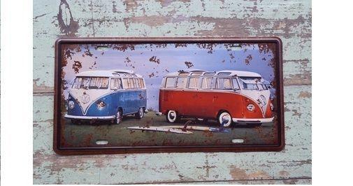 синий и красный VW автобус лицензия автомобиля тарелка винтажный Жестянная вывеска бар паб дома настенные украшения in Дом и сад, Домашний декор, Вывески и таблички   eBay