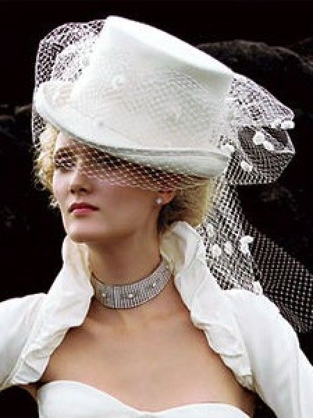 White wedding top hat with veil | Womens Bridal Headpieces
