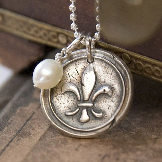Fleur De Lis Charm Necklace Silver Pendant  by wonderfullyhandmade, $32.00