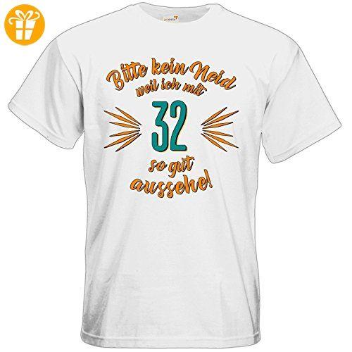 getshirts - RAHMENLOS® Geschenke - T-Shirt - Geburtstag 32 - Bitte kein Neid - petrol - white L (*Partner-Link)
