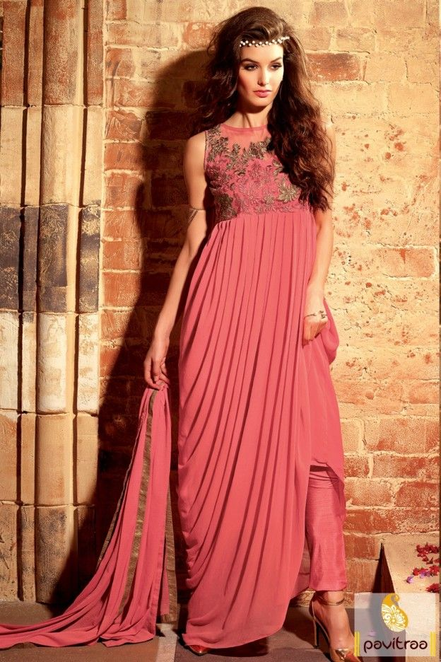 Latest designs and patterns pink color modern style anarkali dress for wedding reception online. Get young college girls farewell party dresses in cheap cost. #salwarsuit, #designerdress more: http://www.pavitraa.in/store/anarkali-salwar-suit/
