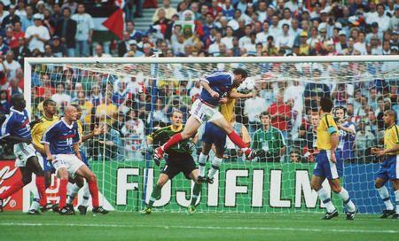Zinedine Zidane, France 3 - 0 Brazil, 98 World Cup Final.