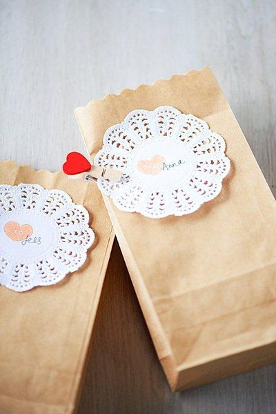 Put your own stamp on your wedding with these personalised name gift tags.