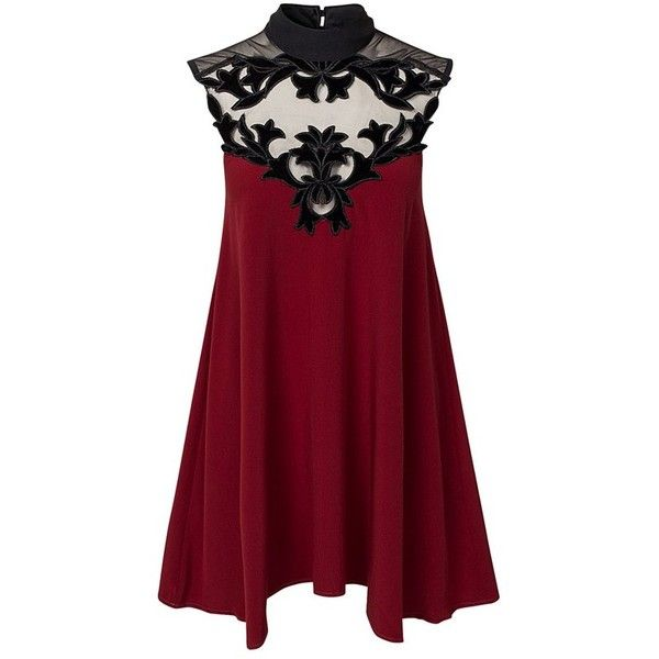 LUCLUC Flocking Lace Two Back Buttons High Neck Dress ($17) ❤ liked on Polyvore featuring dresses, tops, short dresses, vestidos, lace dress, short lace dress, red lace dress and lacy red dress