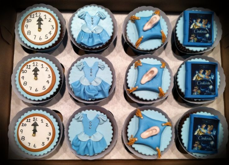 Cinderella princess themed cupcakes. Handmade toppers.