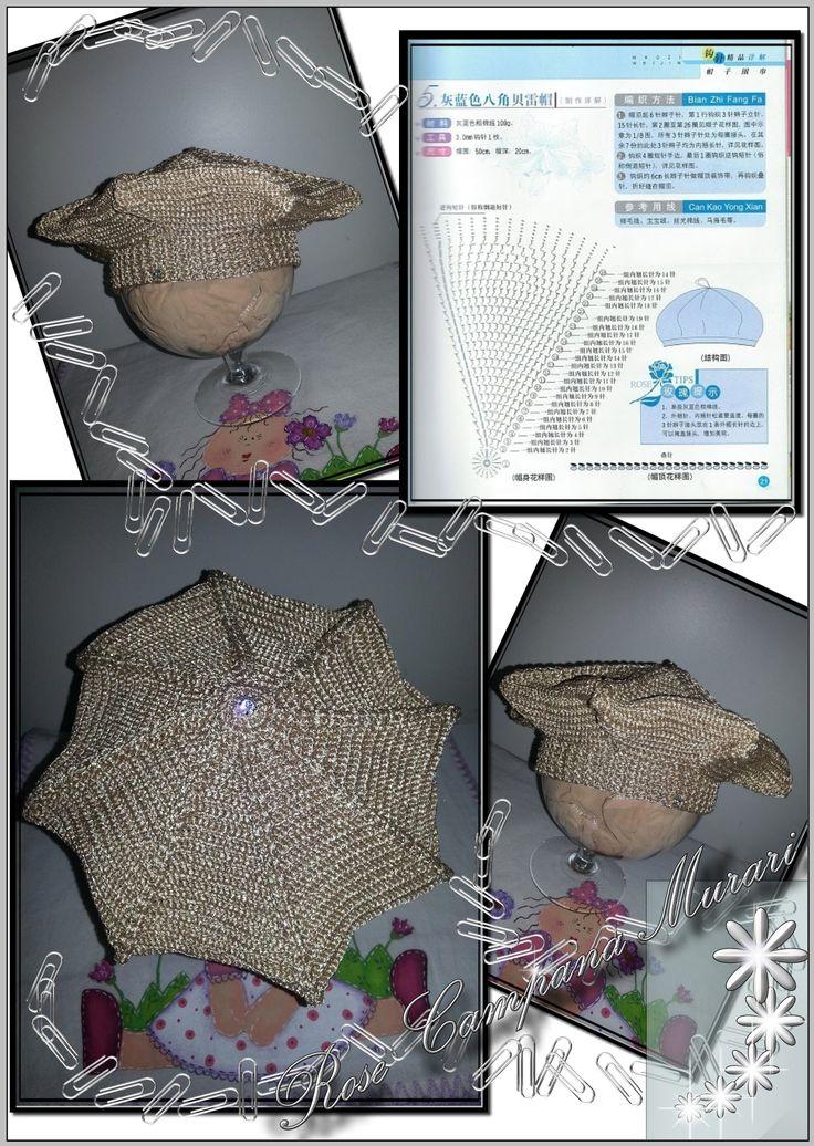 Boina infantil com linha Neoné (da Pingouin em http://www.pingouin.com.br/website/fios_interna.php?id28). O esquema foi este da foto.