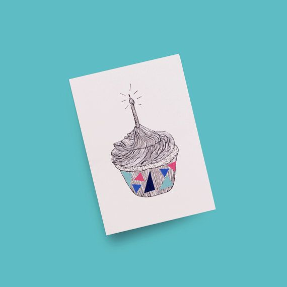 Birthday Card A6 4x6 'Cupcake' Line Illustration with Hand-drawn Metallic Silver Ink and Colourful Triangle Stickers — Nat Carroll