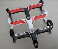 Ness fibra del carbón del camino de bicicletas de ciclismo manillar piezas de bicicleta de carbono bajan y vástago integradora 400 / 420 / 440 mm 28.6 mm