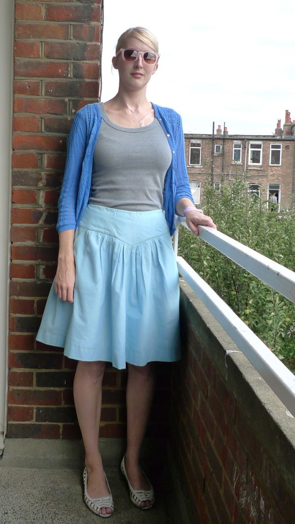 Crescent Skirt in blue cotton voile