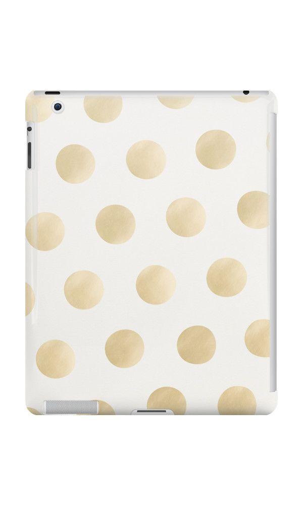 Gold Polka Dots - white by adventura #ipadcase #ipad #case #polkadot #dots #polkadots #gold #goldprint #goldpattern #golddots #pattern #accessory #decor #trending