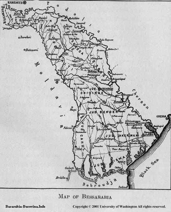 16 Charles Upson Clark Map of Bessarabia province of Greater Romania - Basarabia Harta 1927