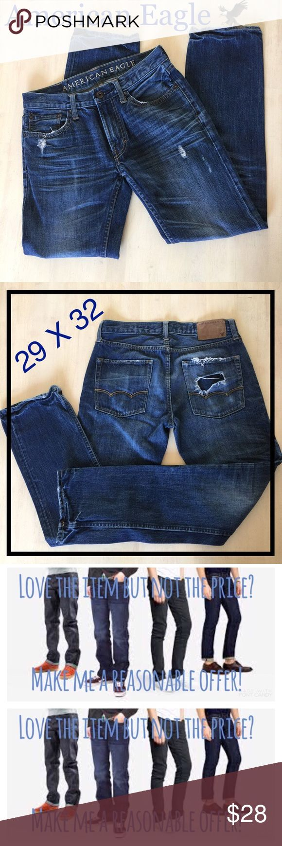 American Eagle 🦅 29X32 #171 Men's 29x32 Distressed Jeans. Very good condition. All orders are shipped same or next business day. American Eagle Outfitters Jeans Slim Straight