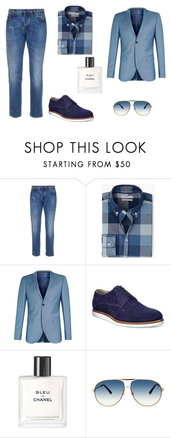 """In blue"" by ustine on Polyvore featuring Valentino, MANGO, Topman, HUGO, Chanel, Tom Ford, men's fashion i menswear"