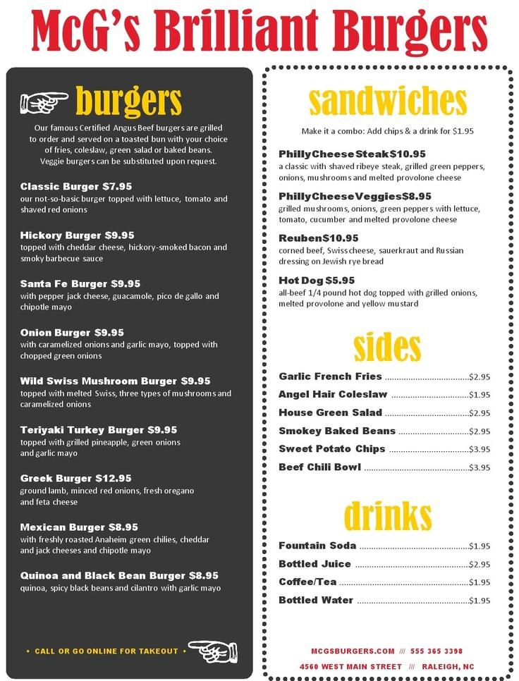 backyard burger menu musthavemenus restaurant ideas pinterest