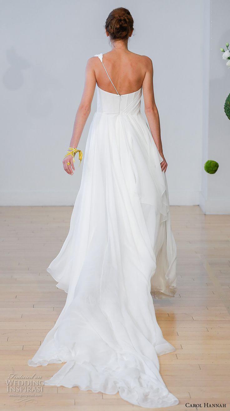 carol hannah 2017 bridal one shoulder asymmetrical neckline simple modern side slit a line wedding dress medium train (artemisia) bv