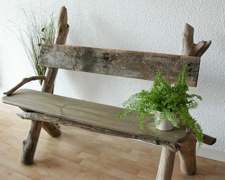 driftwood bench, would love this for my front porch!