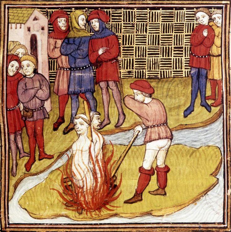 Jacques de Molay & Geoffroy de Charnay sur le bûcher - Miniature du Maître de Virgile - Grandes Chroniques de France - Vers 1380.