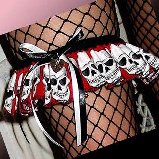 Rock 'n Roll Punk Goth Red Skull Wedding or by bombshellbridal, $16.99