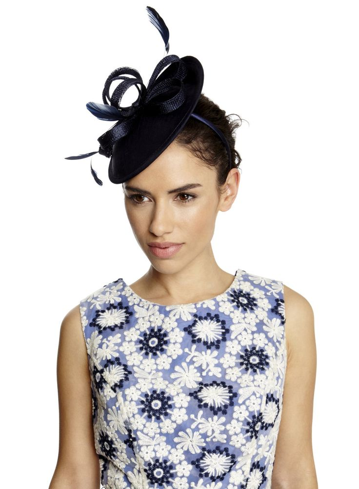 Navy Small Covered Saucer Fascinator - BHS