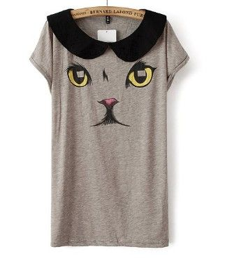 ST1241 2013 New Fashion Ladies' cute animal cat print T-shirt short sleeve peter pan collar shirt casual slim brand design tops
