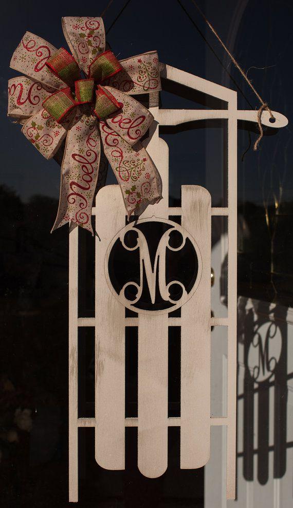 Christmas Sleigh Door Hanging  Wooden Door by thewoodduck on Etsy