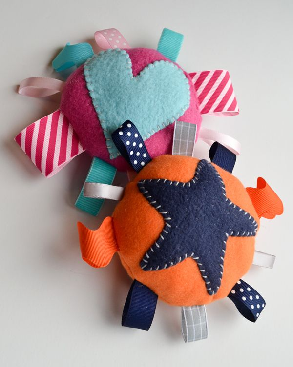 Get out your sewing kits! Fleece baby toys...so easy to make just use fleece, ribbon and whatever you prefer for stuffing.