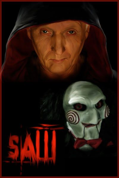 "Jigsaw & his puppet, ""I want to play a game"". Reminds me someone."
