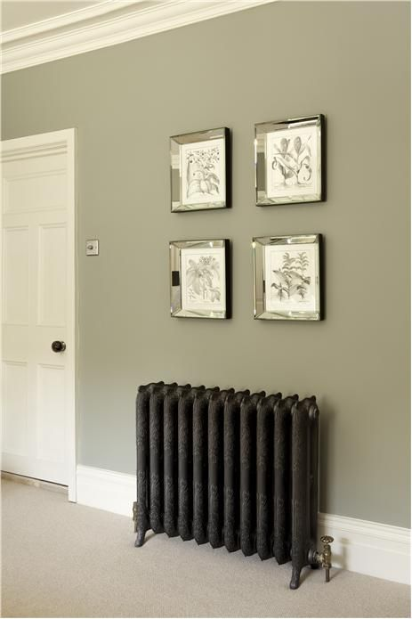 Farrow and Ball - bedroom wall in Pigeon Estate Emulsion, door and trim in White Tie Estate Eggshell. Cast Iron Radiator