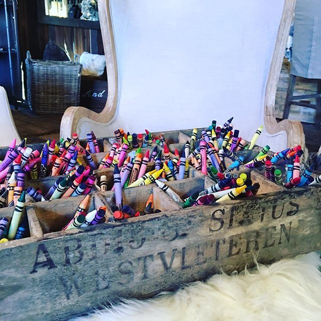 Add a little colour to your day. I love these vintage crates - perfect for even crayons!#rivercroftinteriors #rivercroft #rivercroftbarn #barnlife #colour #vintage #crates #crayons #milton #gta #shoplocal #rustic #homedecor