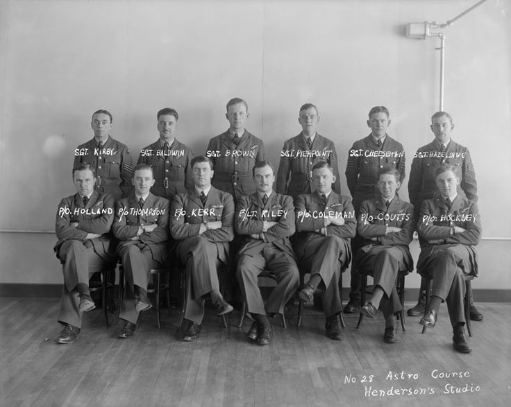 From 1939-1945, Canada was the primary training ground for the British Commonwealth Air Training Plan, with over 200 sites across the country. Huron County was host to four training sites.  Back Row (L to R): Sgt. Kirby, Sgt. Baldwin, Sgt. Brown, Sgt. Pierpoint, Sgt. Cheeseman, Sgt. Hazeldine (Haseldine).