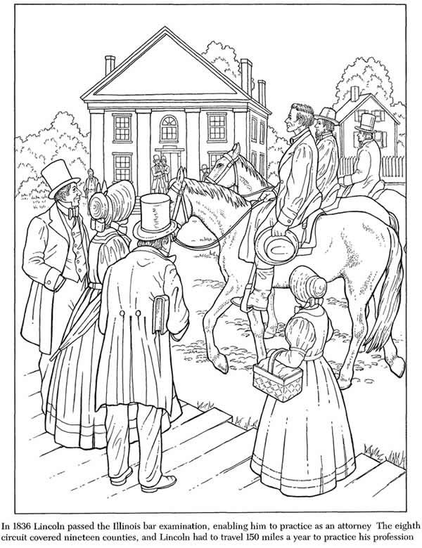 Abraham Lincoln Coloring Book 3 Sample Pages