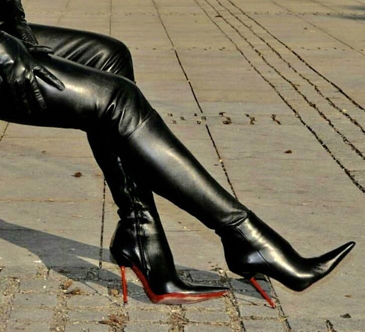 thigh boots, Leather high heel boots
