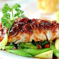 Light Cherry Glazed Chicken with Snap Peas and Broccoli