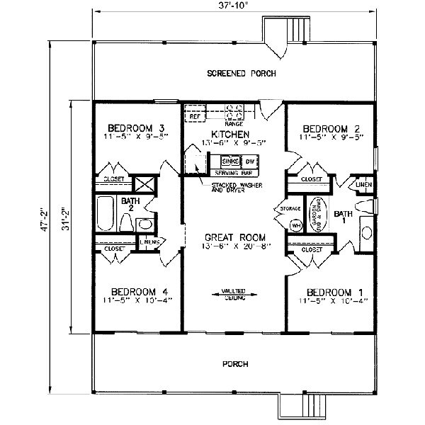 Country style house plan 3 beds baths 1040 sq ft for 10 x 9 square feet
