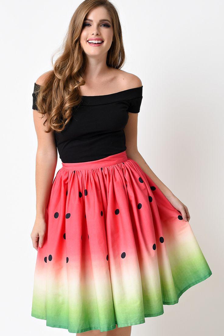 Unique Vintage 1950s High Waist Watermelon Circle Swing Skirt