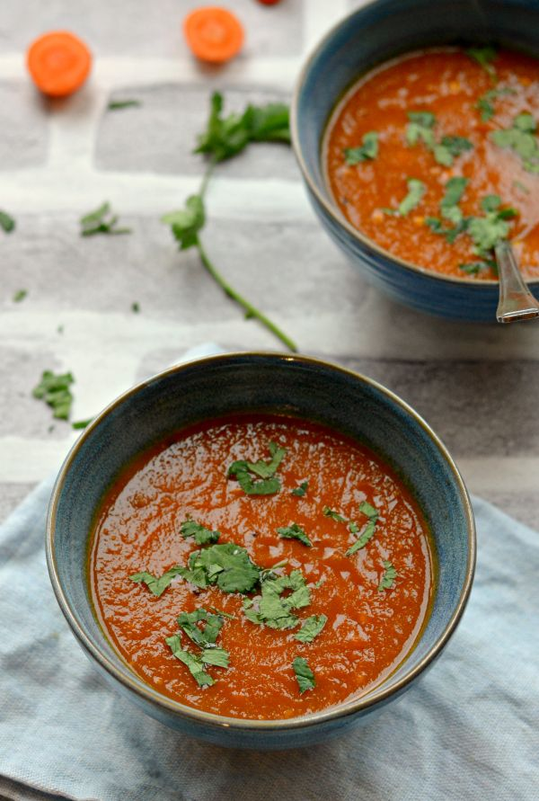 This carrot tomato soup with tamarind, ginger and turmeric is THE best Vegan soup ever! Its warming, healing and fits right in budget. Super easy recipe and gets ready in less than 30 minutes from scratch. Get ready for Christmas with this healthy detox soup.
