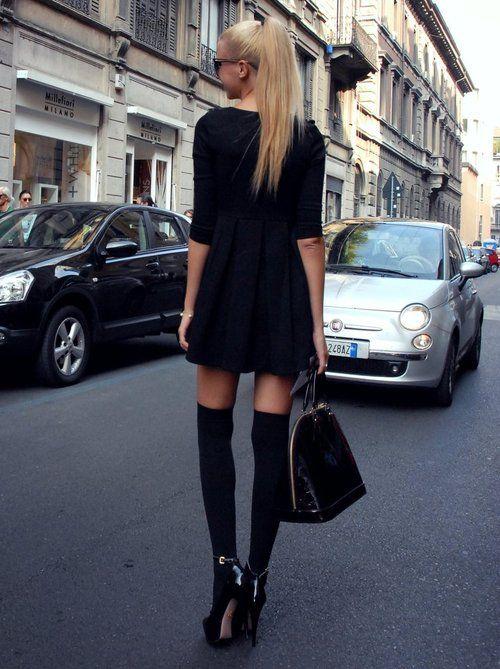 Simple black dress and knee high socks