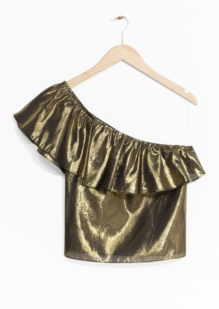 & Other Stories image 1 of One Shoulder Frill Top in Gold