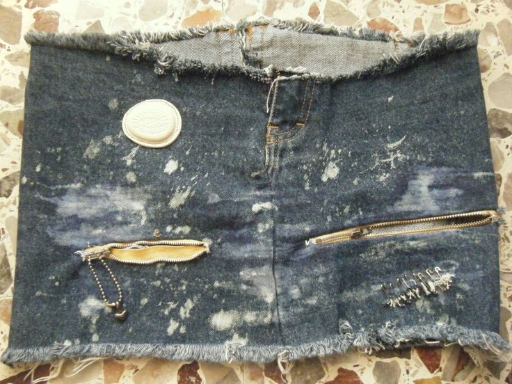 Gonna jeans con cerniere