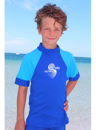 Short Sleeve Boys Rash Shirt Cobalt and light blue
