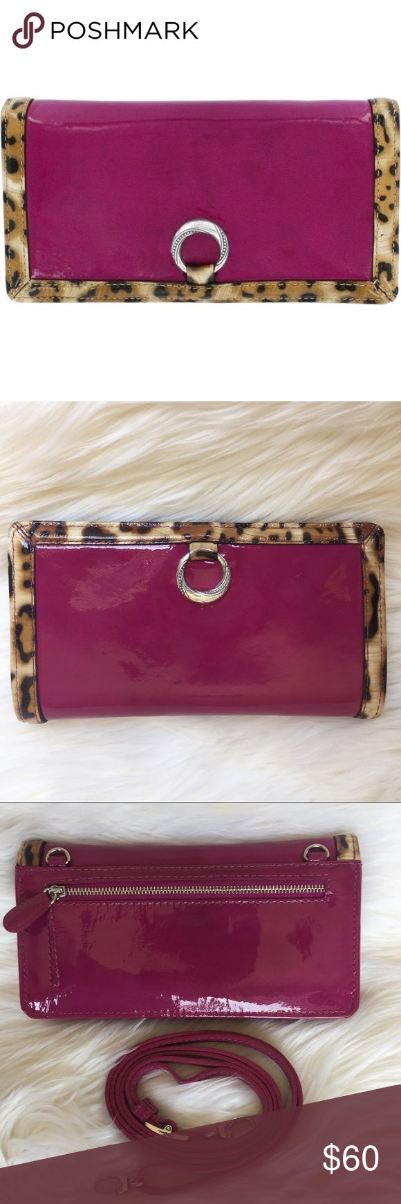 """Brighton Patent Leather Azalea Austyn Wallet The perfect hybrid of mild and wild- this wallet combines ladylike shine with leopard print for an elegant yet edgy effect. W: 7.5"""" x H: 4"""" x D: 1"""", credit card slots: 16, interior pockets: 2, strap: 14"""" x 28.5 detachable, exterior: leather, exterior pockets: 1, closure: flap w/ magnetic snap, features ID window. This wallet was purchased at a Brighton store and used just a few times. It is in as new condition. 🎁 FREE ($42 retail) lip gloss case…"""